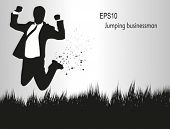 Businessman, jumping on a field.