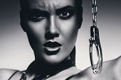 Black And White Angry Woman With Handcuffs
