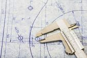 stock photo of mechanical engineering  - Very detailed mechanical engineering blueprint with gauge - JPG