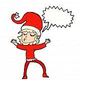 cartoon christmas elf with speech bubble