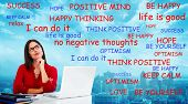 Positive thinking young woman. Success and happiness background.