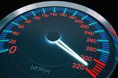Speedometer on dashboard of car