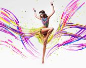 Dancing Woman In Colourful Lines And Petals