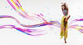 Dynamic Dancing Woman In Colourful Skirt And Lines