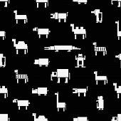 Black And White Square Digital Simple Retro Animals Pattern Eps10