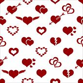Set Of Red Valentine Hearth Love Symbols Seamless Pattern Eps10
