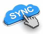 Clicking A Cloud Shaped Sync Button, 3D Render