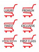 Red Shopping Cart Icons With Luxury Articles Texts
