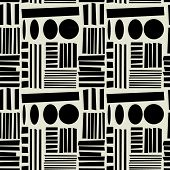 art black graphic geometric seamless pattern, square background with naive Suprematism stripes and circles ornament