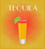 Drinks List Tequila With Red & Golden Background