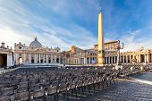 St. Peter's Square at the Vatican at sunset