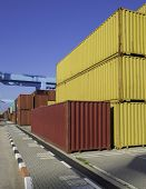 Cargo freight shipping containers at the docks �?�¢?? storage area in the sea port