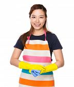 Housewife with plastic gloves and rag