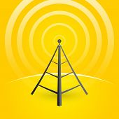 Construction Of A Transmitter On A Yellow Background With Waves