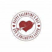 Red Valentine heart and arrow grunge stamp