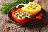 Fresh Peppers Filled With Curd And Dill Close-up Horizontal
