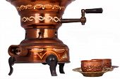 The Antique Samovar On The White Background