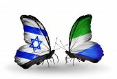 Two Butterflies With Flags On Wings As Symbol Of Relations Israel And   Sierra Leone