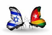 Two Butterflies With Flags On Wings As Symbol Of Relations Israel And  Togo