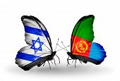 Two Butterflies With Flags On Wings As Symbol Of Relations Israel And Eritrea