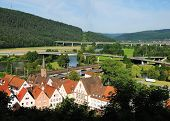 Gemünden Am Main, View On The Historic City Center And The River Main, Germany, Bavaria