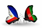 Two Butterflies With Flags On Wings As Symbol Of Relations Philippines And Afghanistan
