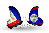 Two Butterflies With Flags On Wings As Symbol Of Relations Philippines And Belize