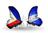 Two Butterflies With Flags On Wings As Symbol Of Relations Philippines And Honduras