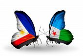 Two Butterflies With Flags On Wings As Symbol Of Relations Philippines And Djibouti