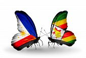 Two Butterflies With Flags On Wings As Symbol Of Relations Philippines And Zimbabwe