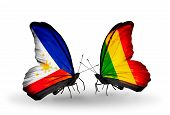 Two Butterflies With Flags On Wings As Symbol Of Relations Philippines And Mali
