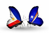 Two Butterflies With Flags On Wings As Symbol Of Relations Philippines And Marshall Islands