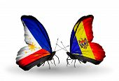 Two Butterflies With Flags On Wings As Symbol Of Relations Philippines And Moldova