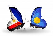 Two Butterflies With Flags On Wings As Symbol Of Relations Philippines And Palau