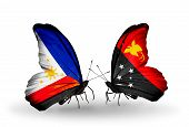 foto of papua new guinea  - Two butterflies with flags on wings as symbol of relations Philippines and Papua New Guinea - JPG
