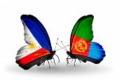 Two Butterflies With Flags On Wings As Symbol Of Relations Philippines And Eritrea