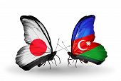 Two Butterflies With Flags On Wings As Symbol Of Relations Japan And  Azerbaijan