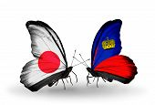 Two Butterflies With Flags On Wings As Symbol Of Relations Japan And Liechtenstein