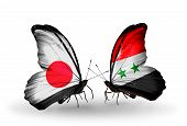 Two Butterflies With Flags On Wings As Symbol Of Relations Japan And Syria