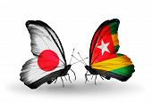 Two Butterflies With Flags On Wings As Symbol Of Relations Japan And Togo