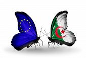Two Butterflies With Flags On Wings As Symbol Of Relations Eu And Algeria