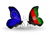 Two Butterflies With Flags On Wings As Symbol Of Relations Eu And Afghanistan