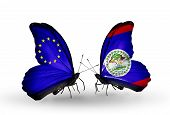 Two Butterflies With Flags On Wings As Symbol Of Relations Eu And Belize