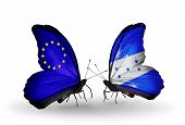 Two Butterflies With Flags On Wings As Symbol Of Relations Eu And Honduras