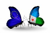 Two Butterflies With Flags On Wings As Symbol Of Relations Eu And Djibouti