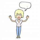 cartoon woman stressing out with speech bubble