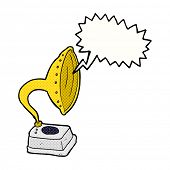 cartoon phonograph with speech bubble