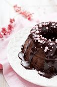Chocolate bundt cake with pink decorations