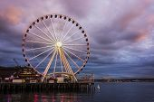 Seattle Wheel At Dusk