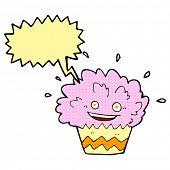 cartoon exploding cupcake with speech bubble